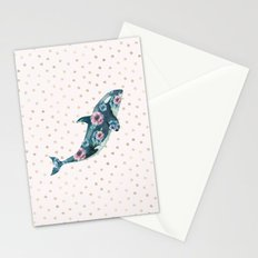 Whale Ocean Rose + Gold Polka Dot Stationery Cards