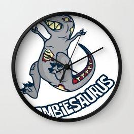Zombie dinosaur T-Rex joke apocalypse gift Wall Clock