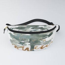 Christmas Tree Watercolors Noel Gold Typography Fanny Pack