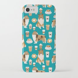 Rough Collie coffee pet portrait dog art by pet friendly latte coffee dog lover gifts iPhone Case