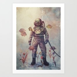 Deep Sea Garden - colour option Art Print