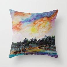 WAtercolor City Throw Pillow