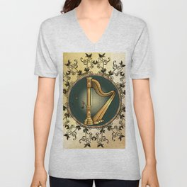 Golden harp Unisex V-Neck