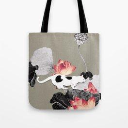 Cat and Lotus Tote Bag