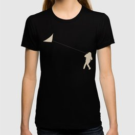 Little Girl with a Kite in Winter Grass T-shirt