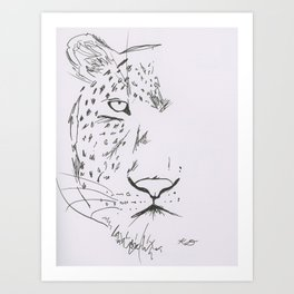 Ink pen Leopard Half-face Art Print