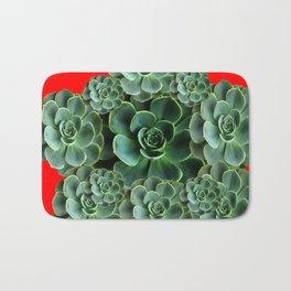 CHINESE  RED ART JADE GREEN SUCCULENTS Bath Mat