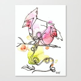 Intertwined Experiences - Watercolor Illustration - Whimsical Doodle - Cardinal Birds Canvas Print