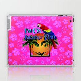 Pink Hibiscus Island Time And Parrot Laptop & iPad Skin