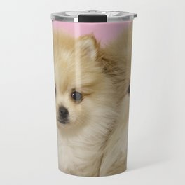 Pink Pomeranian Brothers Travel Mug