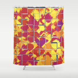 Squares Red & Yellow Abstract Shower Curtain