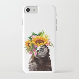 Sloth with Sunflower Crown iPhone Case