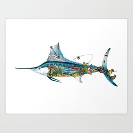 Colored Fisherman Marlin Art Print