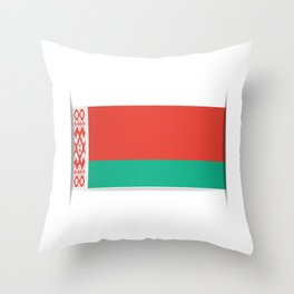 Flag of Belarus.  The slit in the paper with shadows.  Throw Pillow