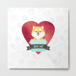 Pop-up Shiba Inu from the Box Metal Print