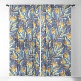 Pohutukawa - Yellow / Blue Sheer Curtain