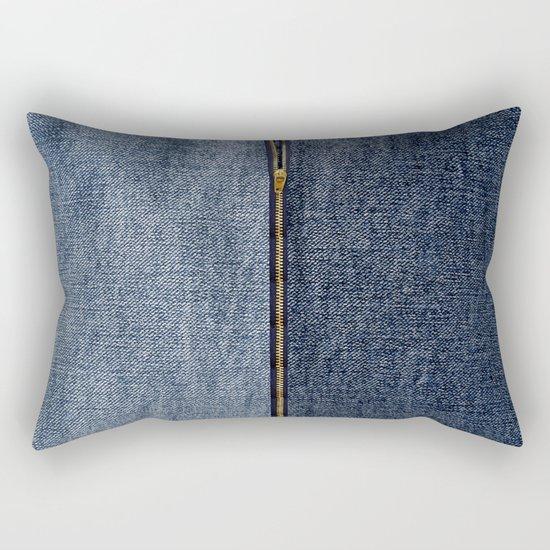 Denim Zip Rectangular Pillow