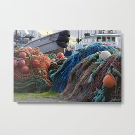 Dutch Harbor Fishing Nets and Boats Metal Print