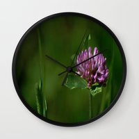 clover Wall Clocks featuring Clover by Dorothy Pinder