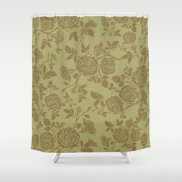 Rose tan and brown repeating pattern Shower Curtain