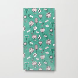 midsummer retro floral sage Metal Print