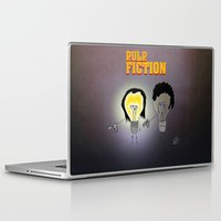 movie poster Laptop & iPad Skins featuring Bulb Fiction - Movie Poster by totemxtotem