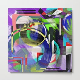 Try To Make Sense Of It All - Random, geometric, eclectic, abstract, colourful art Metal Print