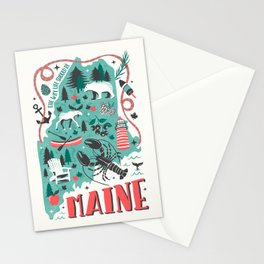 Maine Map Stationery Cards