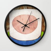 finn Wall Clocks featuring finn by MAKE ME SOME ART