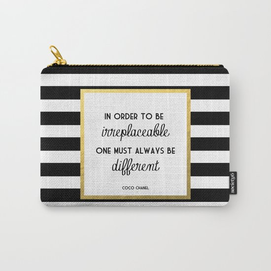 Coco Gold Irreplaceable Fashion Quote Carry-All Pouch