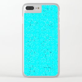 Stars gradient black white turquoise Clear iPhone Case