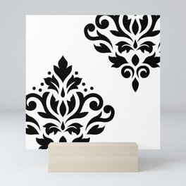 Scroll Damask Art I Black on White Mini Art Print