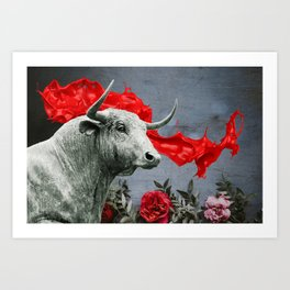 bull's head and red paint Art Print
