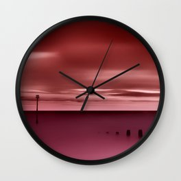 Long red sunset Wall Clock