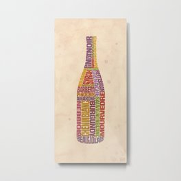 Burgundy Wine Word Bottle Metal Print