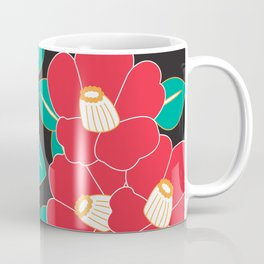 Japanese Style Camellia - Red and Black Coffee Mug