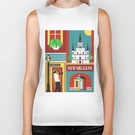 New Orleans, Louisiana - Collage Illustration by Loose Petals Biker Tank
