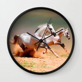 two white horses running Wall Clock