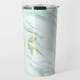 Gold Mint Marbled Travel Mug