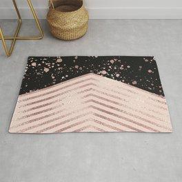 Luxury Rose Gold Pink Black Chevron Paint Splatter Rug