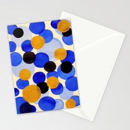 Blue Gold Watercolor Bubbles Circles Painting Stationery Cards