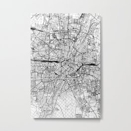 Munich White Map Metal Print