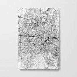 Munich White Map Metal Print