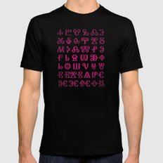 Glagolitic Alphabet MEDIUM Black Mens Fitted Tee