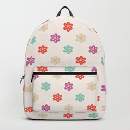 Abstract ivory teal orange violet cute floral Backpack