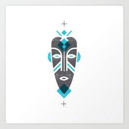 African Mask Blue Art Print