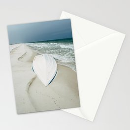 White Boat by the Seashore Stationery Cards