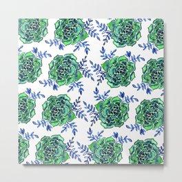 Watercolor houseleek - green and blue Metal Print