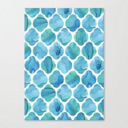 Watercolour Blue Moroccan Tile Print Canvas Print
