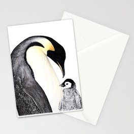 Emperor Penguin with Baby Stationery Cards